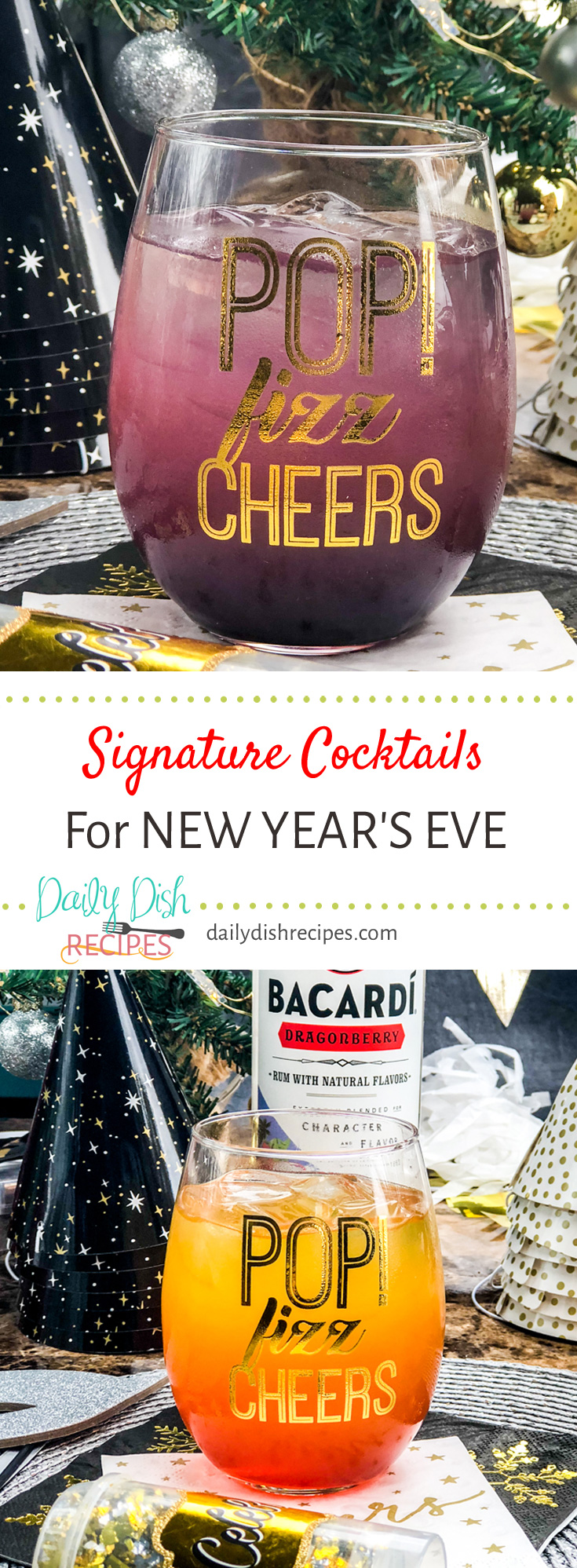 Msg 4 21+ Two Fruity Signature Cocktails for New Year's Eve! Try a Dragon's Breath or Dragon's Sunset for your next get together! #SignatureSips