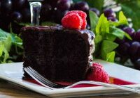 Dark Chocolate Red Wine Cake with Red Wine Raspberry Sauce