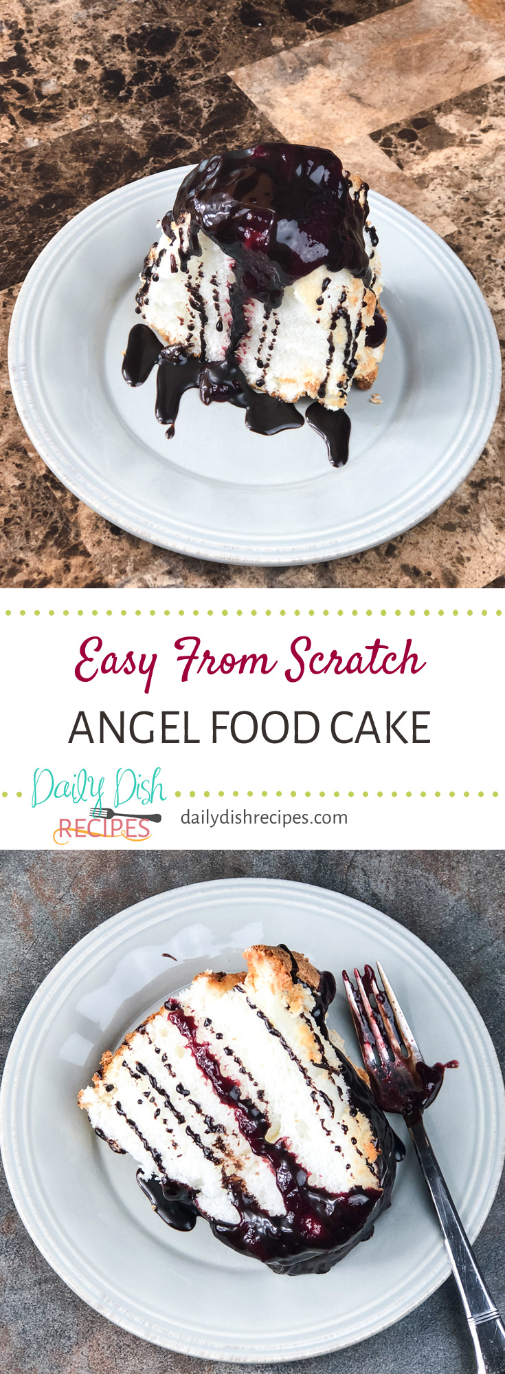 Easy From Scratch Angel Food Cake baked right in a bundt pan (in case you don't have a tube pan). Incredibly fluffy, airy and delicious Just the way classic Angel Food Cake should be!