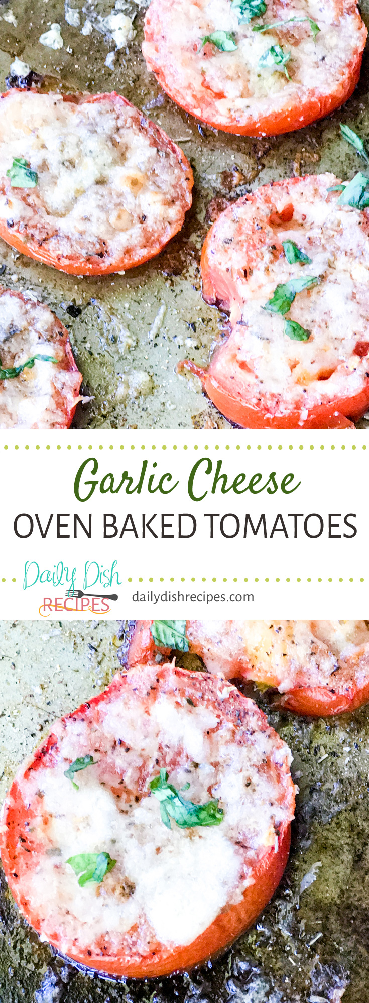 These Garlic Cheese Oven Baked Tomatoes are the bomb as a healthy snack option. My two year old grandson LOVES them and if you love tomatoes and delicious tomato recipes, you will too!
