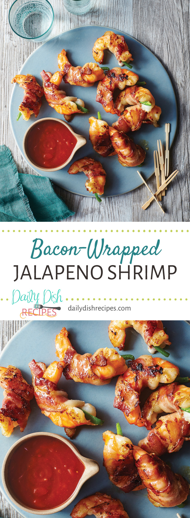 Bacon-Wrapped Jalapeno Shrimp with Cherry Cola BBQ Sauce full of flavor, sitting on the tongue with an exciting contrast of hot and sweet and savory. From the book Valerie's Home Cooking by Valerie Bertinelli.