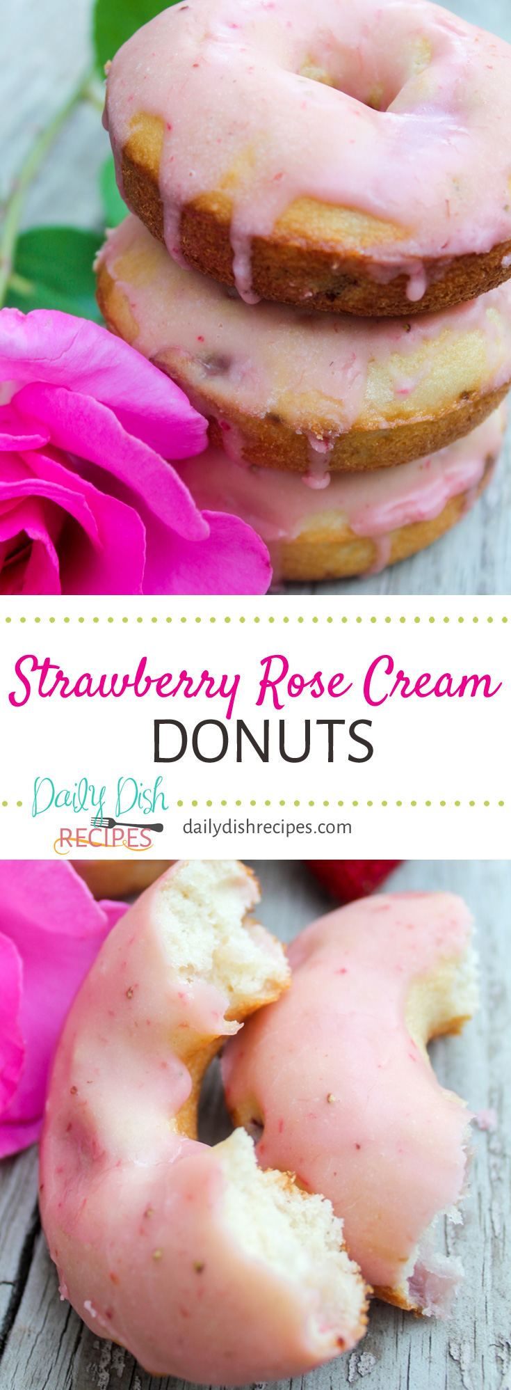 Baked Strawberry Rose Cream Donuts are so easy, come out fluffy and soft and are drizzled with a wonderful homemade strawberry icing. You won't be sure if you're eating dessert or breakfast, but still... they are GREAT for brunch!