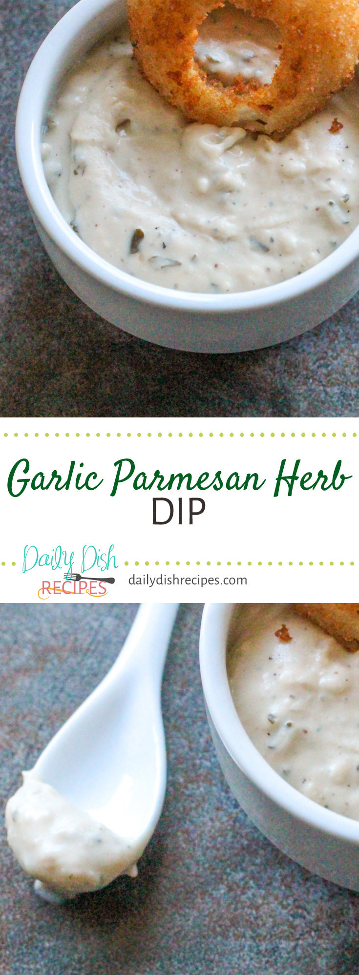 Creamy, Garlicky, Cheesy Dippable goodness in this Garlic Parmesan Herb Dip that goes great with chips, pretzels, bread, veggies, served with steak, chicken, seafood or tossed in a salad. A favorite dip!