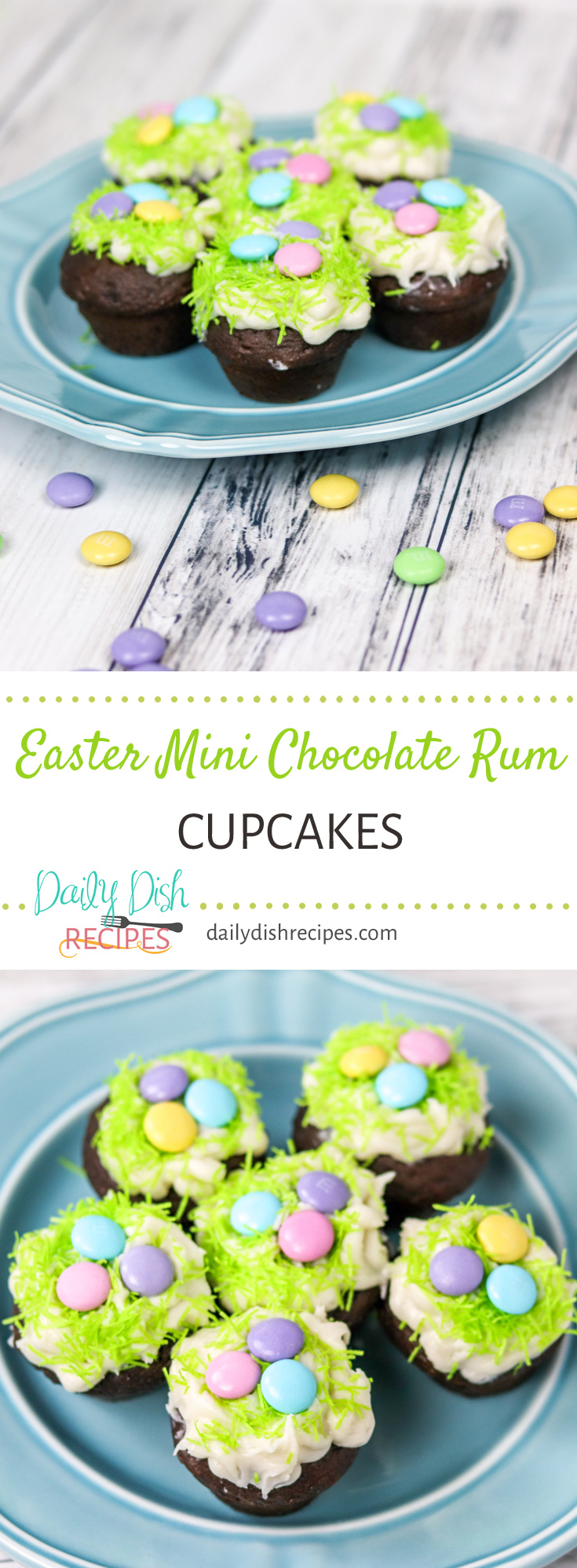 Moist, Rich, Rum-soaked chocolate mini cupcakes are a decadent addition to your Easter table. For these pictures, we also topped ours with a Butter Rum Frosting and decorated for Easter. They are incredibly easy and don't let the box mix fool you, you won't be able to tell. You will love these Chocolate Rum Cupcakes for Easter! #EasterWeek #EasterRecipes