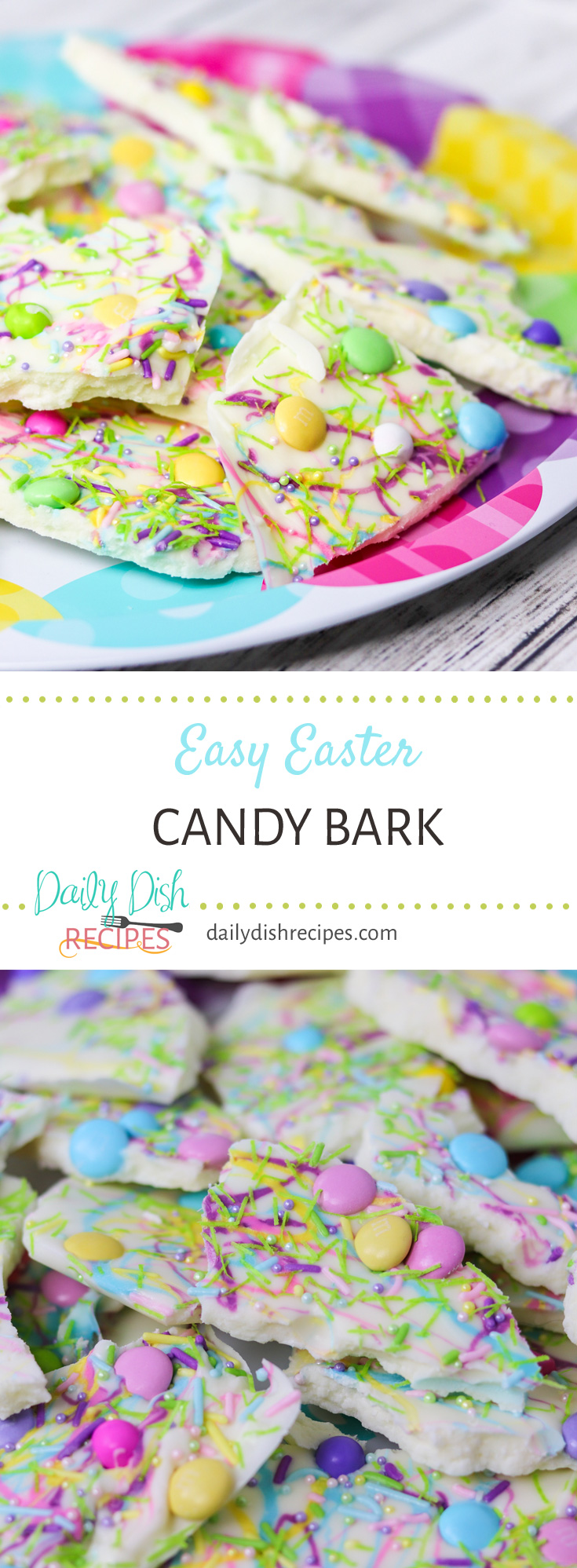 Bright, colorful and delicious Easter Candy Bark is simple to make and is a fun treat for gift giving or simply to enjoy yourself.
