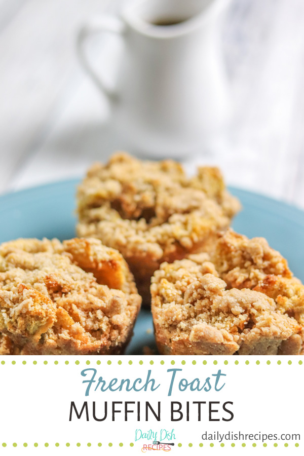 These little French Toast Muffin Bites are packed with big flavor in every bite - buttery, cinnamon little bites of soft french toast goodness. Pair wonderfully with a big mug of coffee or a cup of tea. Great breakfast or brunch item. #BrunchWeek #sponsored