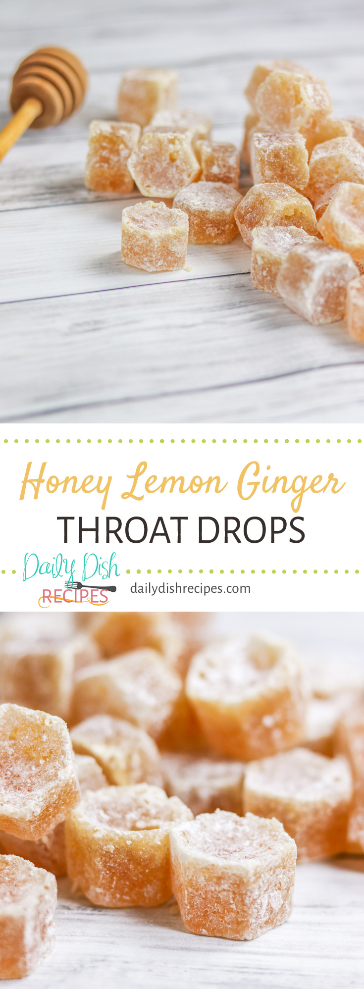 Spring cold? Sore throat? Cough that won't go away? These Homemade Honey Lemon Ginger Throat Drops are incredibly soothing, taste wonderful and when you're feeling better, drop the leftovers in your hot tea to sweeten it. Delicious to the last drop.