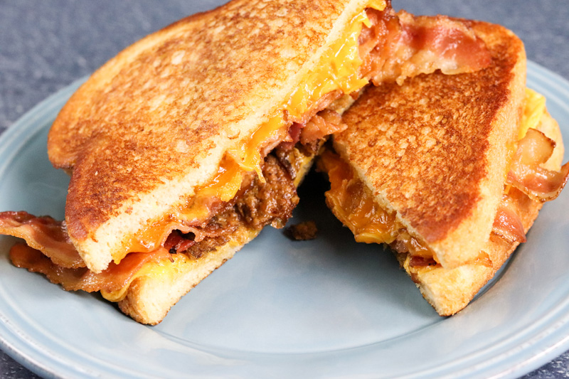 Three Cheese Bacon and Jalapeno Grilled Cheese