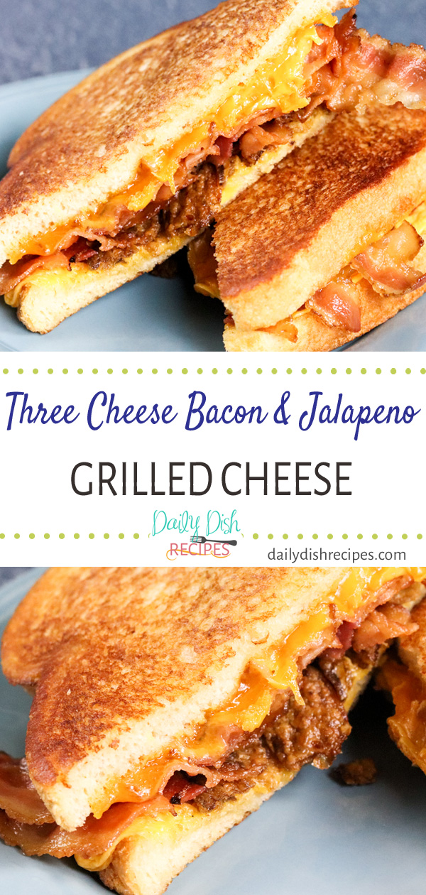 Three gooey, creamy melted cheeses, layered with savory bacon and crispy jalapenos for a more grown up Three Cheese Bacon and Jalapeno Grilled Cheese. Childhood's main comfort food kicked up a notch and taken to another level with savory and spice and cheese... lots of cheese.
