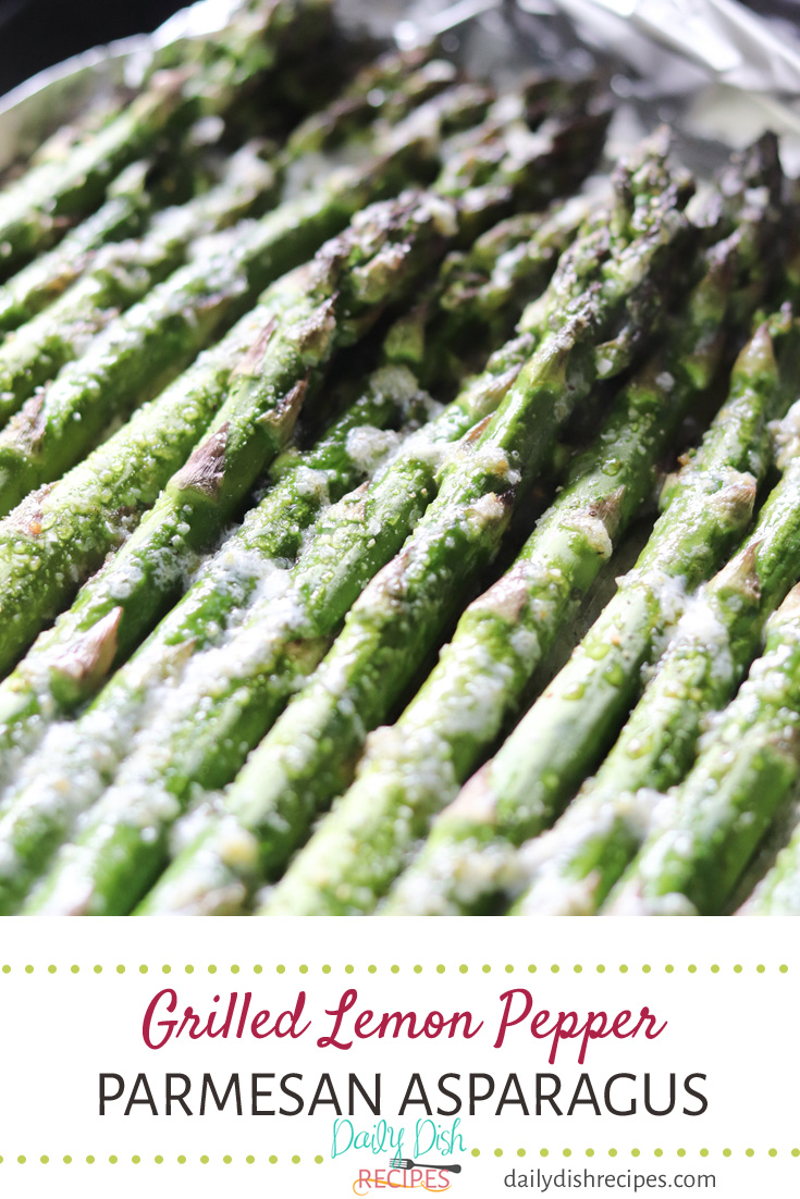 Buttery, melt in your mouth grilled asparagus seasoned with lemon juice and lemon pepper seasoning, makes this Grilled Lemon Pepper Butter Parmesan Asparagus a great side dish for any BBQ. #bbqweek #sponsored