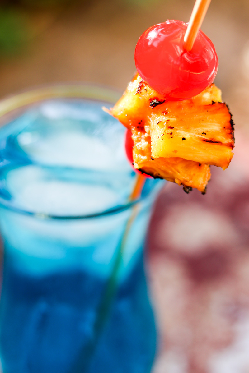 Close Up Grilled Spiced Blue Hawaiian Cocktail