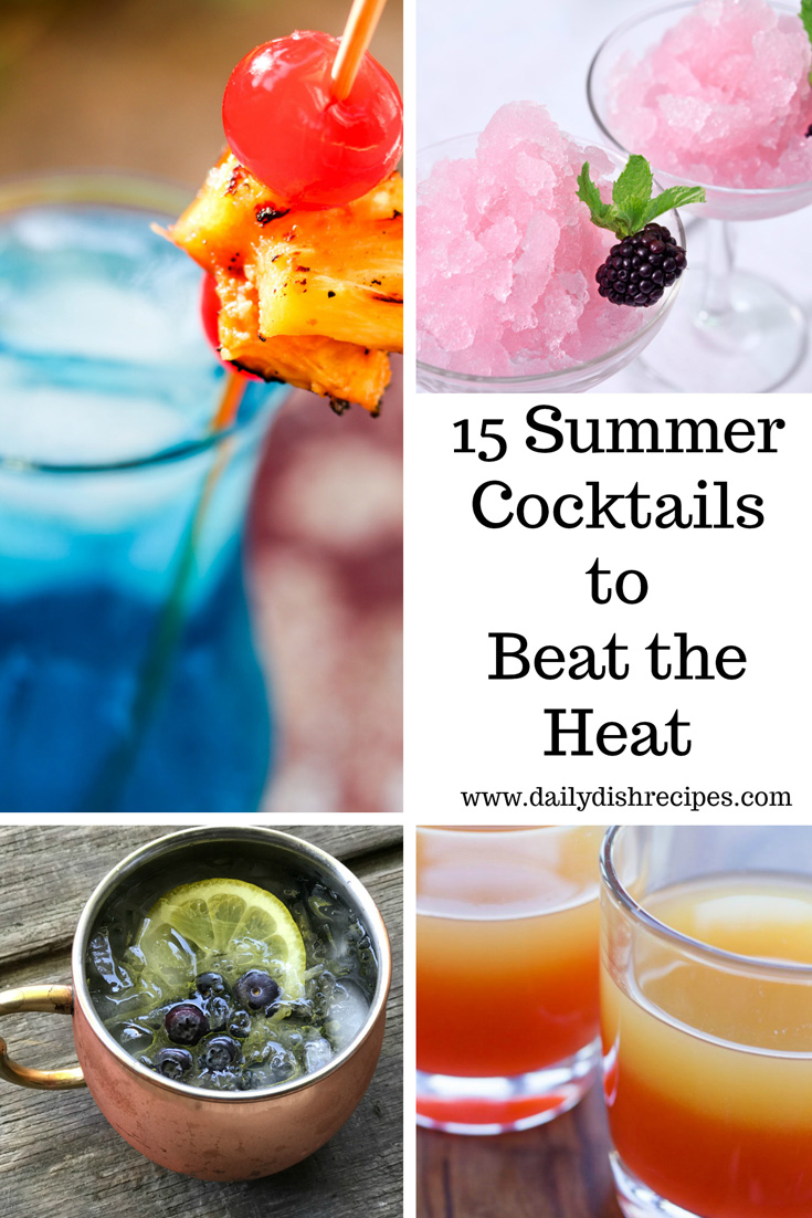 You can't miss these 15 Summer Cocktails To Beat the Heat - fruity, creamy, tropical - there's something for everyone! Rum cocktails, vodka cocktails, ginger beer cocktails, martini cocktails. Everyone will find something they love!