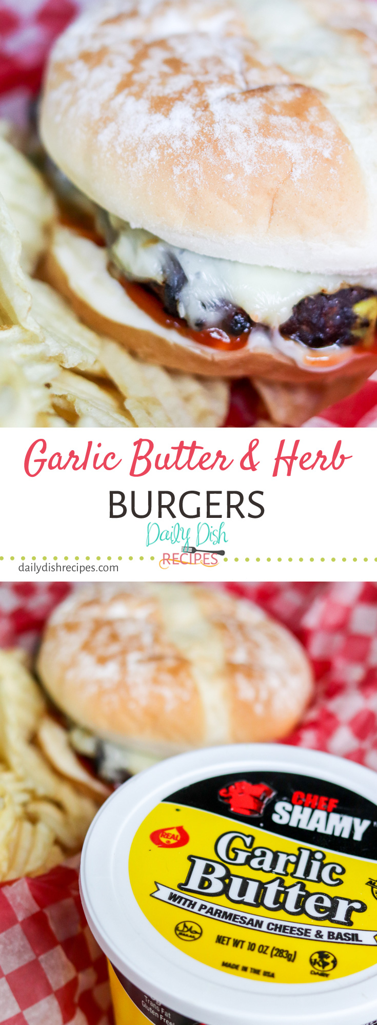 Buttery juicy goodness prevails in these super simple but full of deep flavor, Garlic Butter and Herb Burgers. Grilled to perfection & served however you like. Perfect for your next BBQ, Picnic or Backyard Pool Party. #CookoutWeek