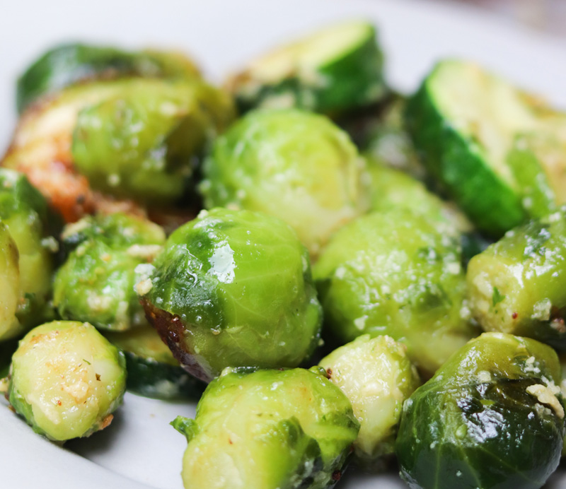 Grilled Brussels Sprouts and Zucchini