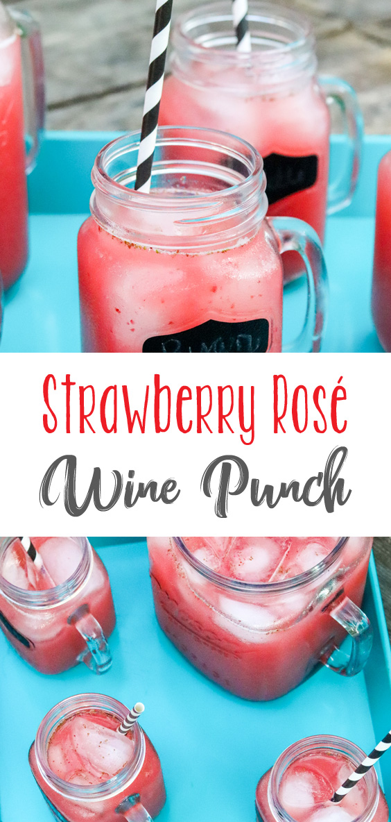 Cool, refreshing and perfect for absolutely any summer get together, this Strawberry Rosé Wine Punch will be perfect at your next picnic, BBQ or Cookout!