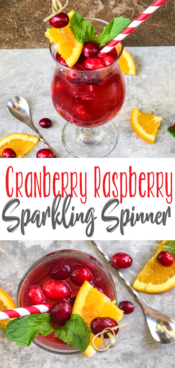 The tart, crisp flavor of cranberries blended perfectly with the sweetness of raspberry with just the right amount of fizz, makes this Cranberry Raspberry Sparkling Spinner a refreshing, delicious addition to your summer cocktails.
