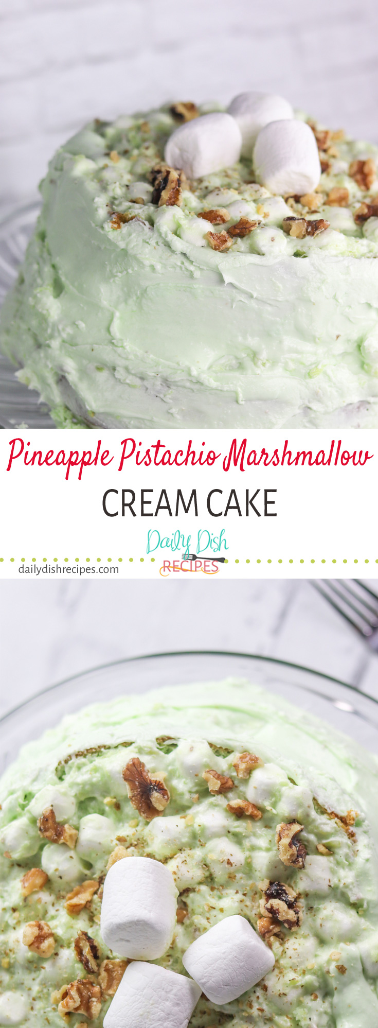 The sweet, classic taste of Watergate Salad in a delicious Pineapple Pistachio Marshmallow Cream Cake, really does make the perfect Summer Dessert.