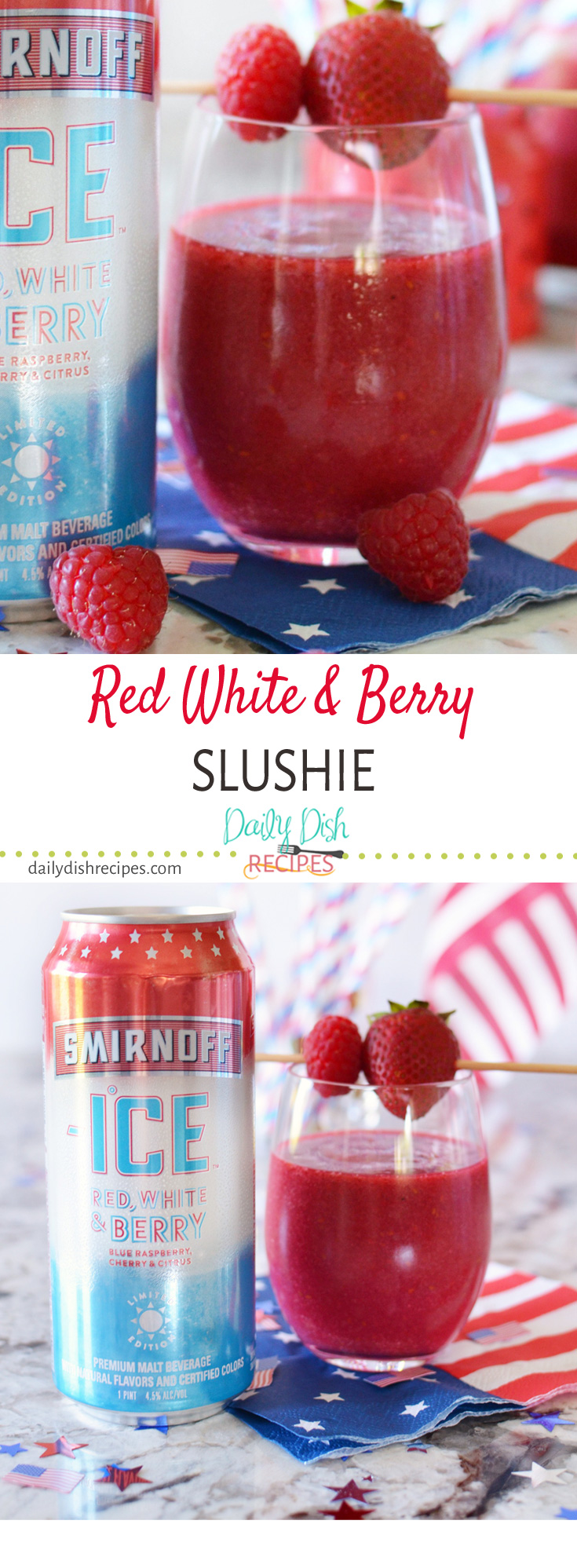 Red, White & Berry Slushie is a frozen flavored malt beverage with a blend of blue raspberry, cherry and citrus flavors, makes this a perfectly refreshing and cooling drink to enjoy anytime this summer.