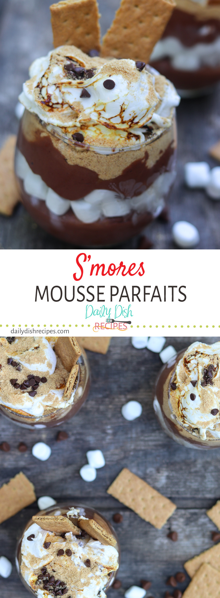 A decadent S'mores Mousse Parfait with layers of graham cracker, rich chocolate mousse, and marshmallows. Topped with toasted marshmallows, mini chocolate chips and a dusting of fine graham cracker powder. So wonderfully summer and absolutely delicious! The essential summer dessert recipe! #summerdessertweek #ad