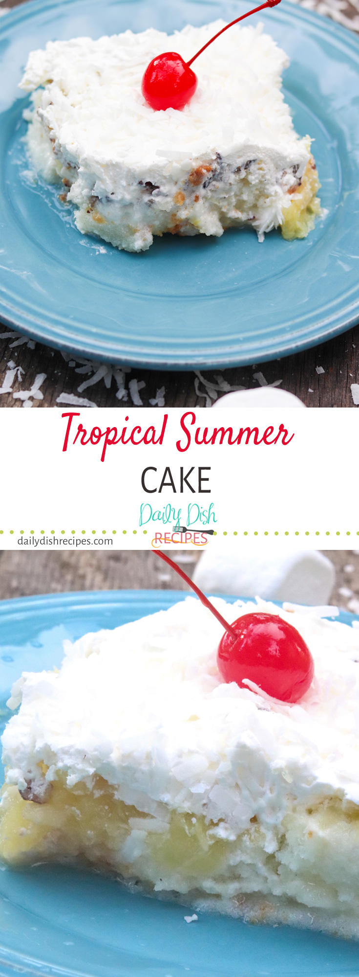 Old fashioned (vintage) cake that just screams summer. This Tropical Summer Cake is layered with angel food cake, marshmallow, pineapple, nuts and topped with whipped topping and coconut. You really cannot find a more summer cake if you tried. This is from my childhood, do you remember this cake too?