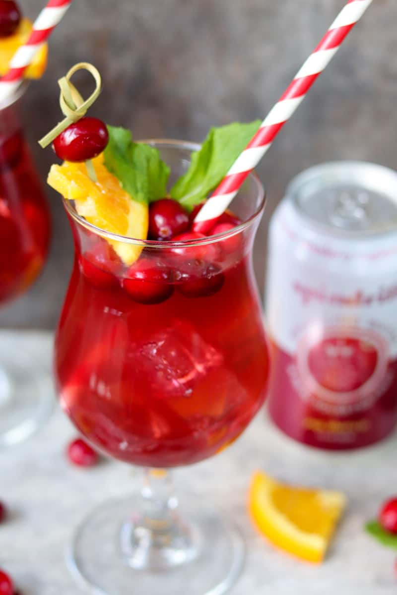 Cranberry Raspberry Sparkling Spinner Cocktails