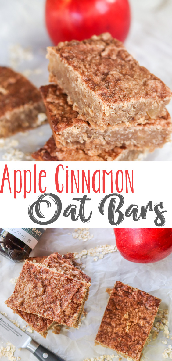 These may not look like much, but these Apple Cinnamon Oat Bars are so much more than just a healthy breakfast or snack bar. They are filling, kid-friendly and so incredibly flavorful. Bites of apples and cinnamon flavor swirled throughout every bite. These easy homemade bars are delicious and guaranteed to keep you powdered for the day ahead. #sponsored
