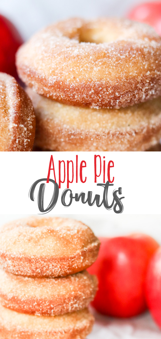 Soft, fluffy, Apple Pie Donuts taste just like the real thing. Spiced to perfection and loaded with real apple pie filling, these donuts are incredible for breakfast, dessert or midnight snack.
