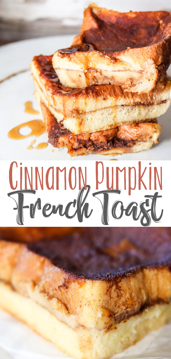Easy Cinnamon Pumpkin French Toast is made the night before and popped into the oven in the morning for a hearty, delicious Fall breakfast. #PumpkinWeek #sponsored