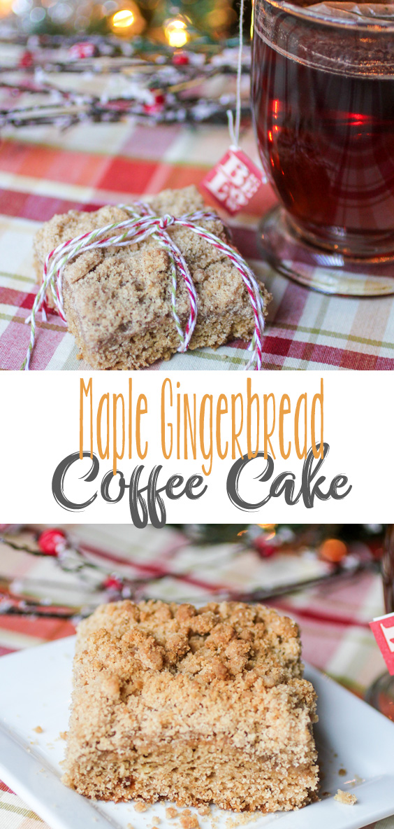 Sweet and Spicy, delicious Maple Gingerbread Coffee Cake. The perfect coffee cake breakfast with a mug of coffee or cup of tea.