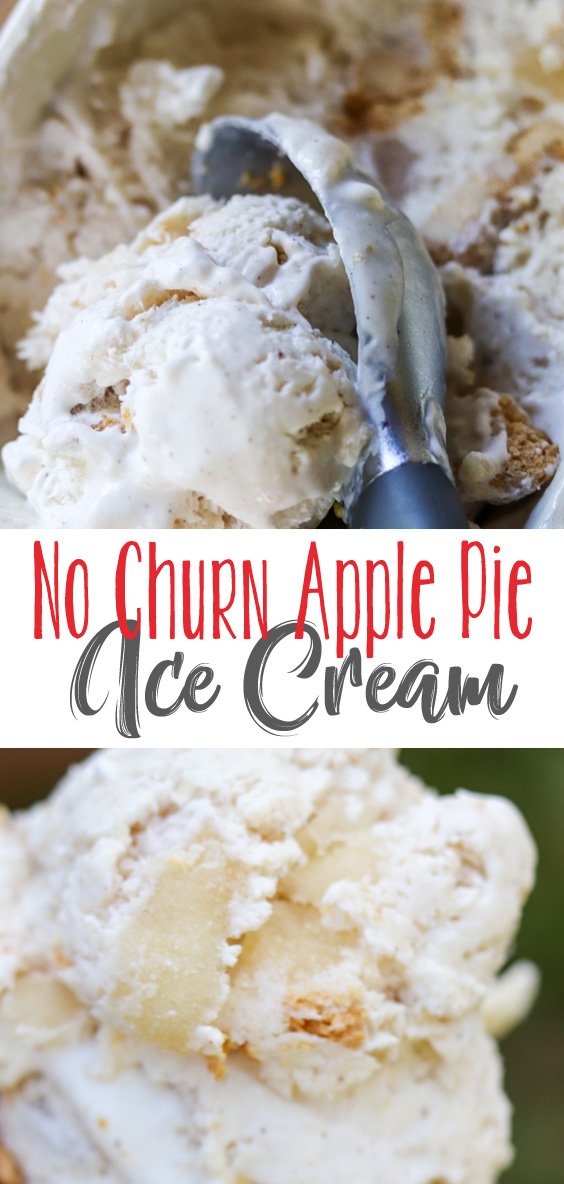 No Churn Apple Pie Ice Cream takes a creamy vanilla ice cream base blended with pie spices, apples and pie crust pieces blended throughout. A wonderfully refreshing and delicious way to enjoy your apple pie on a sunny, cool Fall day. Mix up all the ingredients and freeze. No ice cream maker required! #sponsored