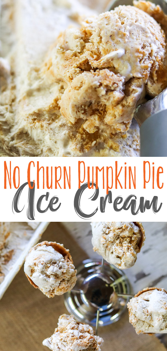 No Churn Pumpkin Pie Ice Cream takes a creamy ice cream base blended with spices and swirls pumpkin pie puree and pie crust pieces throughout. A wonderfully refreshing and delicious way to enjoy your pumpkin pie on a hot day. Mix up all the ingredients and freeze. No ice cream maker required! #sponsored