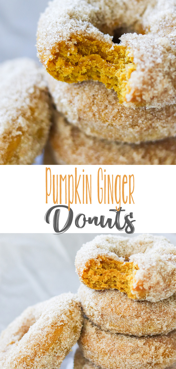 Moist, soft baked donuts, spiced to perfection and loaded with the delicious flavors of fall - pumpkin and ginger! These wonderful Pumpkin Ginger Donuts will quickly become a favorite!  #PumpkinWeek #ad