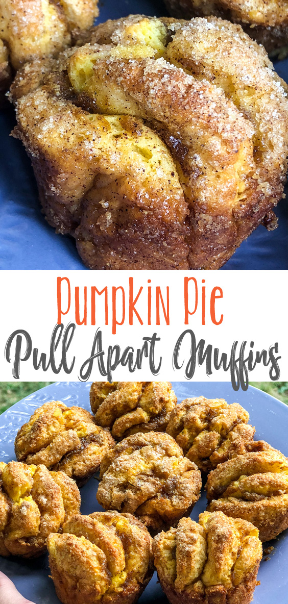 These delicious breakfast muffins are flaky, buttery layers of pumpkin and cinnamon sugar goodness. Pumpkin Pie Pull Apart Muffins are a great Fall breakfast treat, easy to make and absolutely delicious!