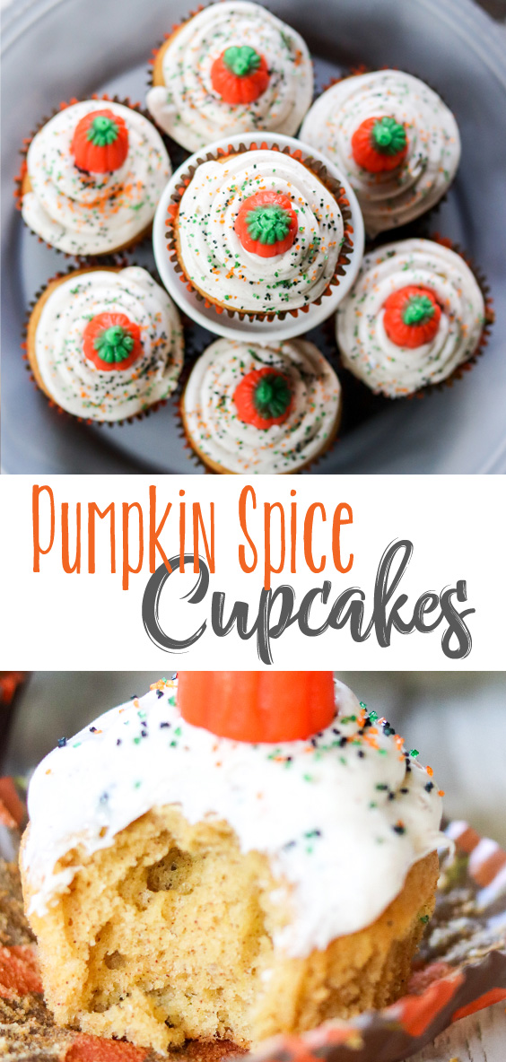 Moist delicious pumpkin spice cupcakes topped with a creamy Cinnamon Cream Cheese Frosting. Cupcakes that simply scream Fall. You will be so glad you tried these Pumpkin Spice Cupcakes with Cinnamon Cream Cheese Frosting! #sponsored