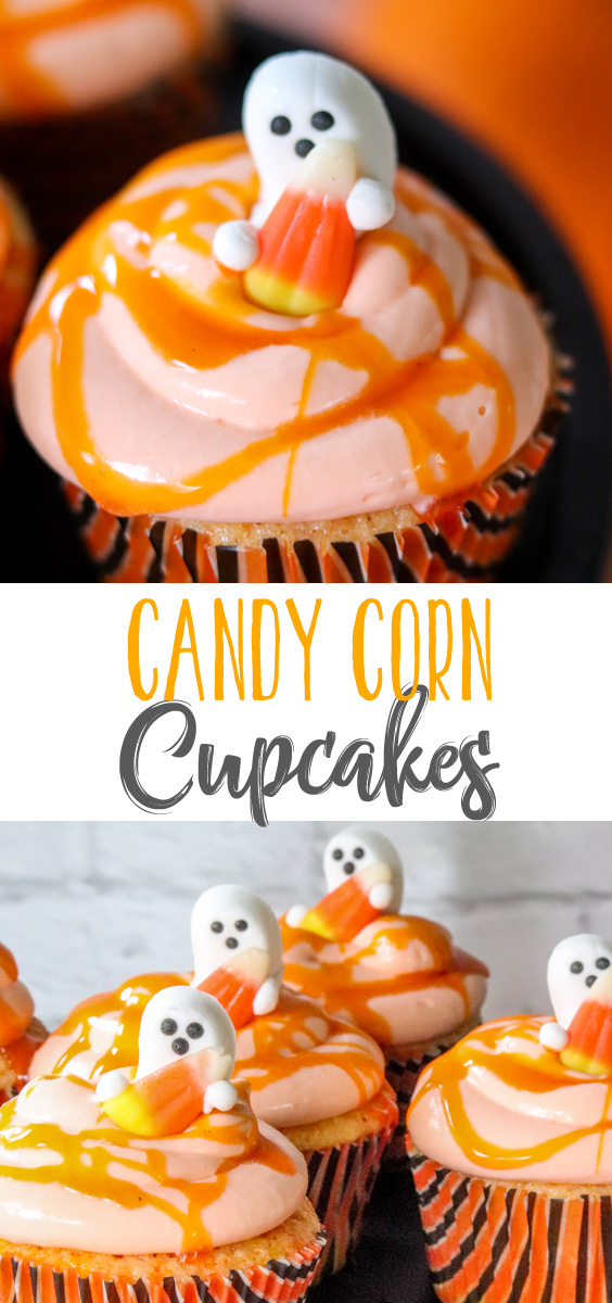 Delicious vanilla cupcakes topped with real candy corn frosting and then drizzled with a candy corn simple syrup. These candy corn cupcakes are literally the bomb! #halloweentreatsweek #sponsored