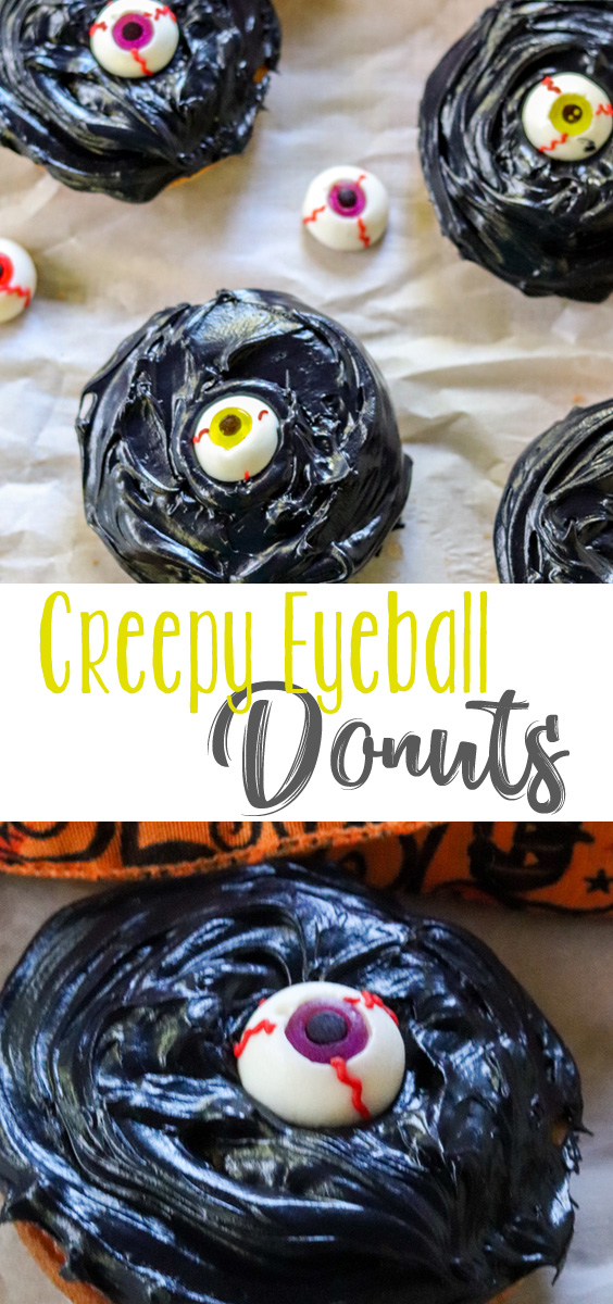A little spooky fun turns this easy vanilla baked donut into a fun Halloween treat. Creepy Eyeball Donuts are a just the perfect amount of spooky, when you're looking for something easy, delicious and fun. #HalloweenTreatsWeek #sponsored