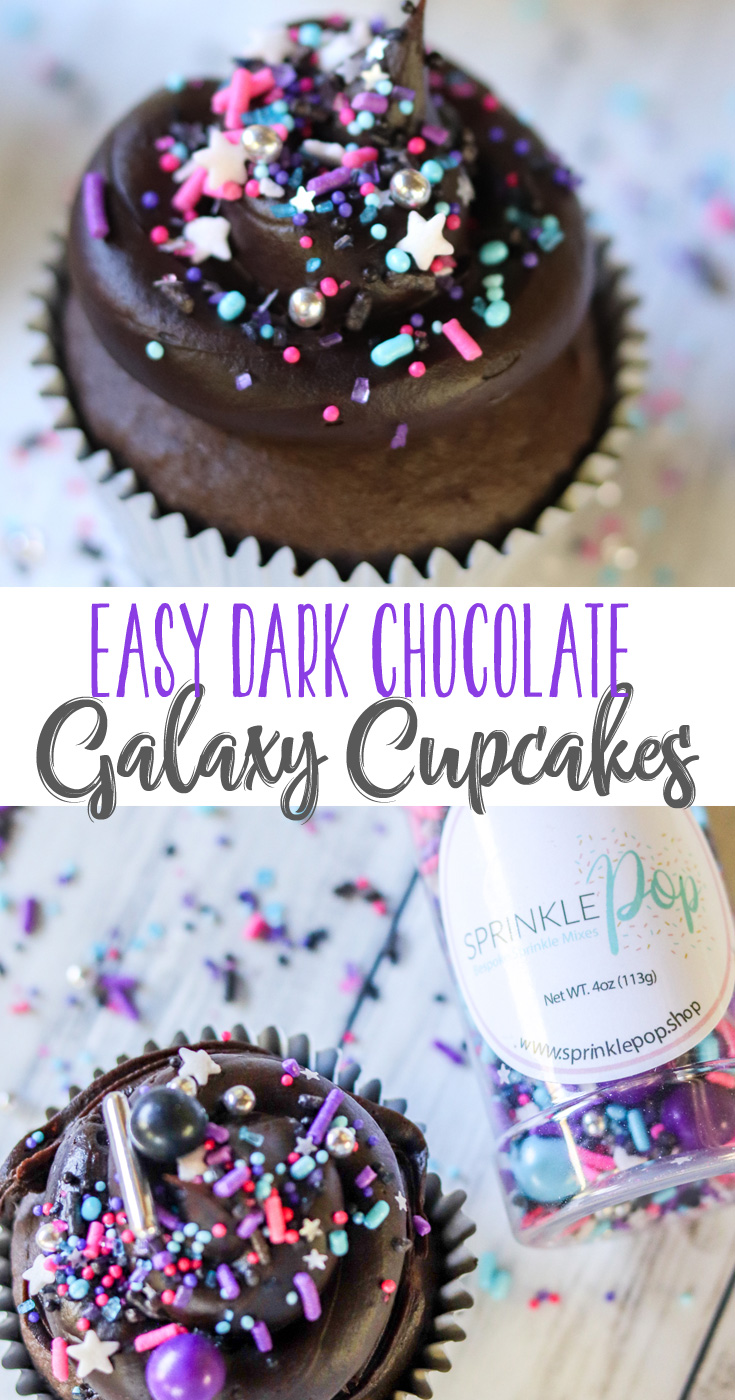These Easy Dark Chocolate Galaxy Cupcakes are super simple and don't require food coloring. They are delicious and have a surprise... they are filled inside with plenty of sprinkles. #choctoberfest #sponsored