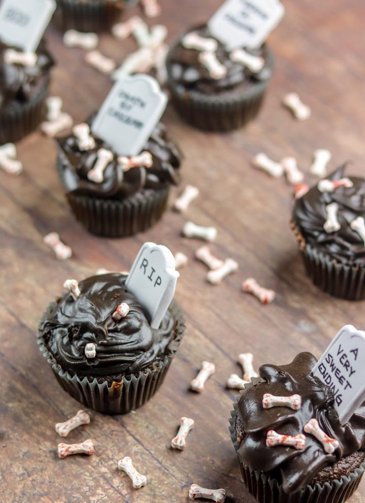 Graveyard Chocolate Pumpkin Rum Cupcakes