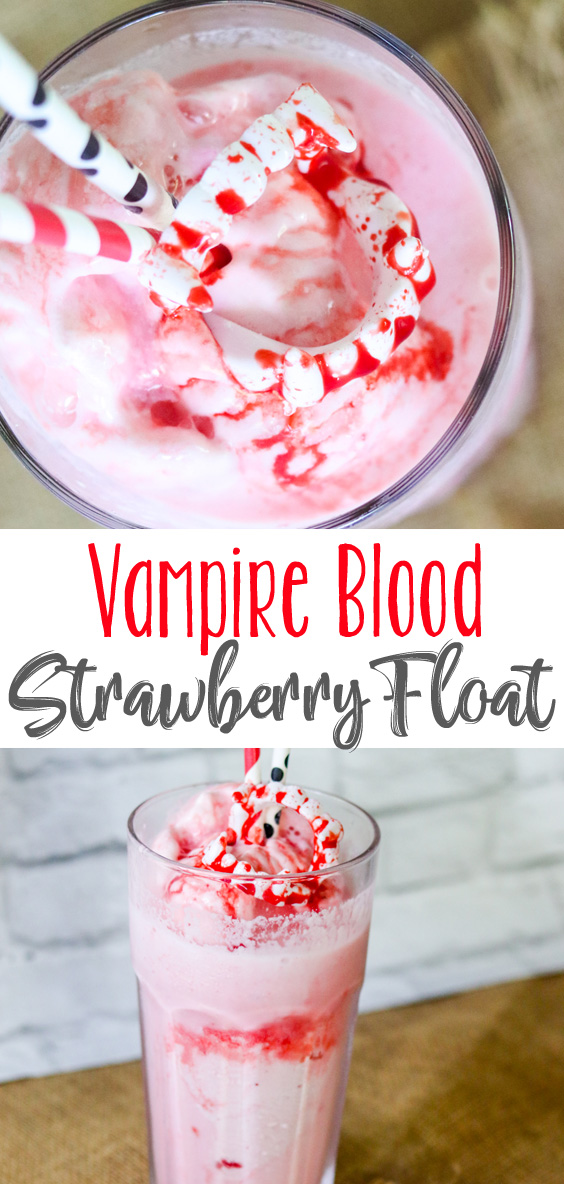 How fun and spooky are these ridiculously easy, Vampire Blood Strawberry Floats? Super simple, super fun and edible blood, making for a fun treat anytime. #HalloweenTreatsWeek #sponsored