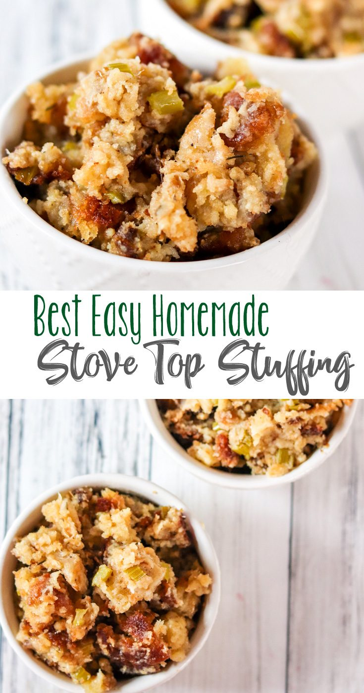 This basic recipe for stuffing is buttery, herbed goodness, made right on your stove top. Lots of great flavor and a simple recipe makes this our favorite and our Best Easy Homemade Stove Top Stuffing.