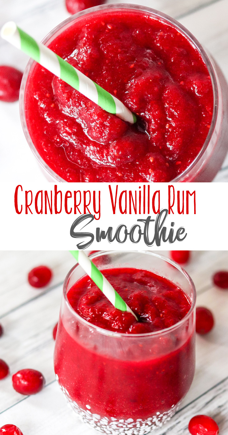 This Cranberry Vanilla Rum Smoothie is like Christmas in a cocktail glass. Who said you couldn't enjoy a smoothie in the winter? #CranberryWeek #21+