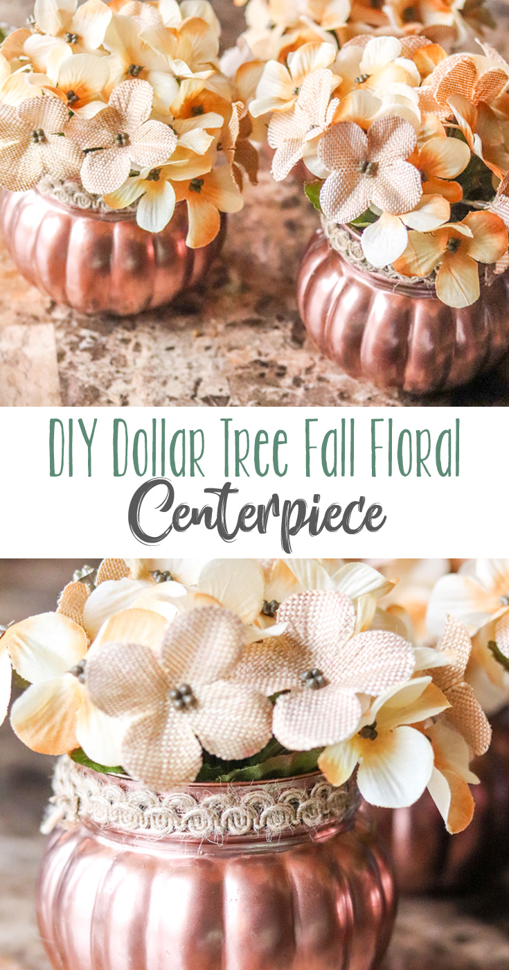Glass pumpkin jars are painted copper and fitted with fall flowers in this very easy DIY Dollar Tree Fall Floral Centerpiece. It makes a simple, elegant and inexpensive Thanksgiving decoration!