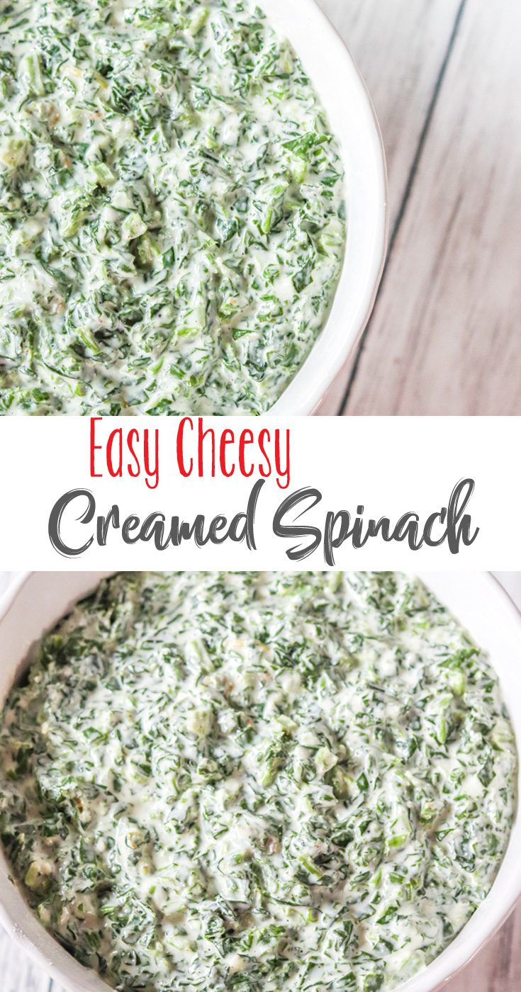 Cheesy, creamy restaurant-style creamed spinach is the perfect side dish with almost any meal. Easy Cheesy Creamed Spinach is a crowd pleasing recipe that's popular with everyone.