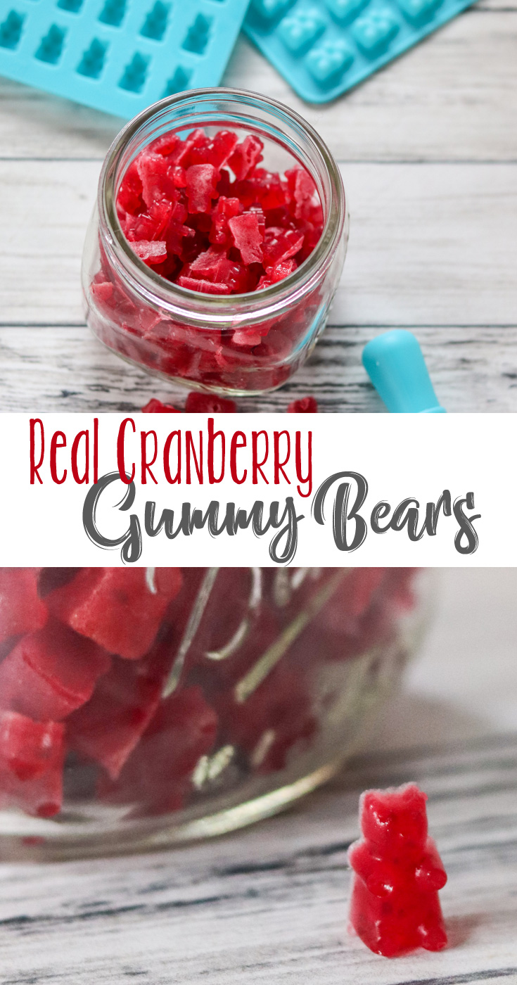 These Real Cranberry Gummy Bears are slightly sweet, a little tart, easy to make, a healthier option to candy and a fun poppable treat. We love making them with fresh or frozen cranberries.