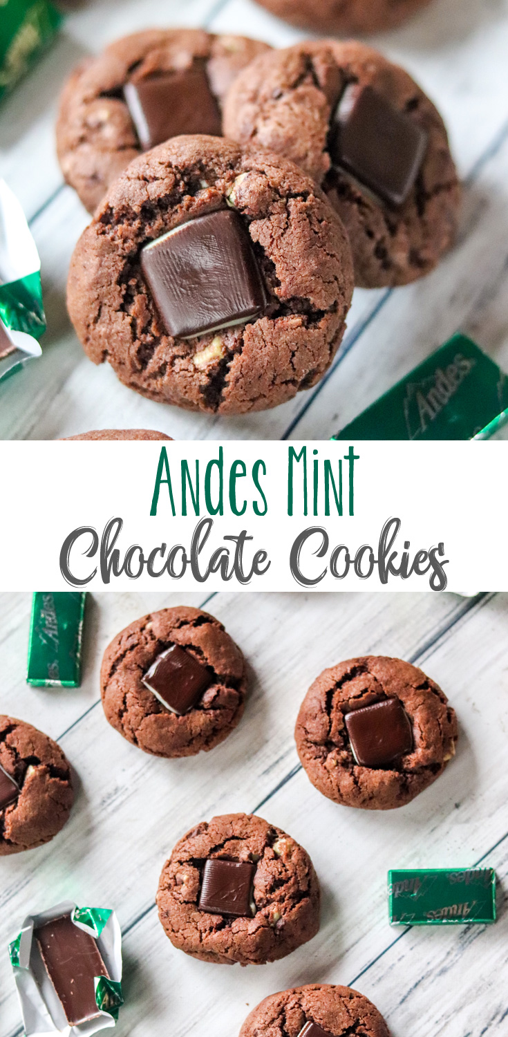 Soft, minty and deliciously chocolate with a real Andes Mint Chocolate in the center. These Andes Mint Chocolate Cookies are an absolute favorite and go quick!Chocolate Mint in the best cookie ever!