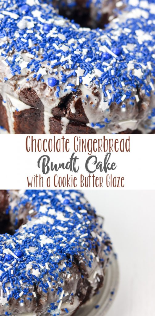 Chocolate Gingerbread Bundt Cake with Cookie Butter Glaze