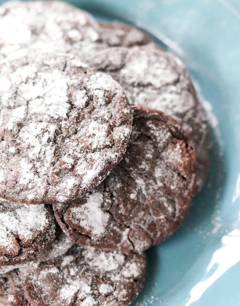 Dark Chocolate Coffee Crinkle Cookies