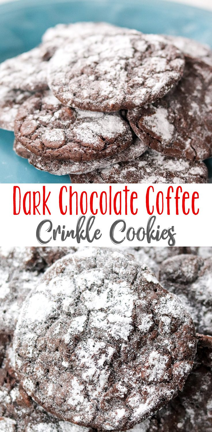 Rich Dark Chocolate Coffee Crinkle Cookies are a must for every cookie jar! Slightly crisp and chewy on the outside, and perfectly soft on the inside.