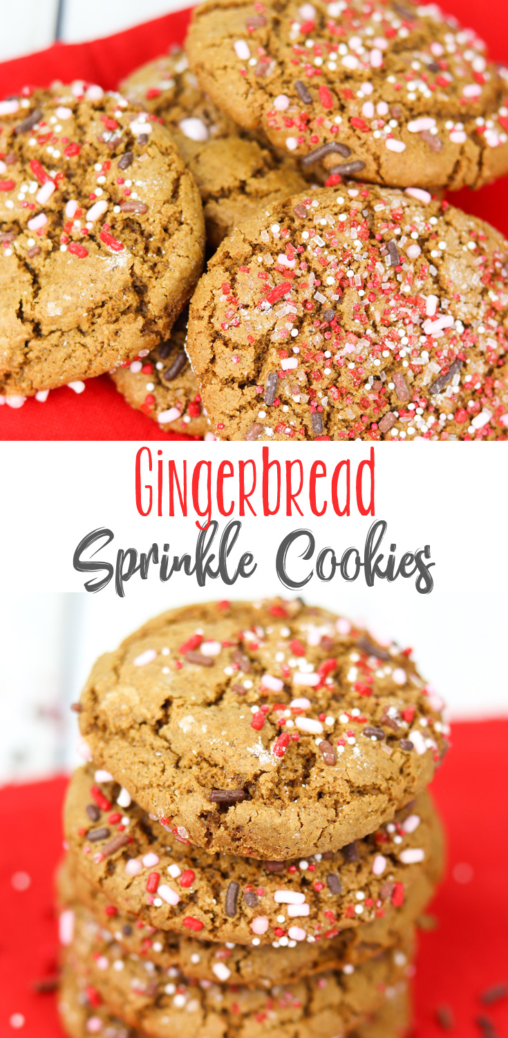 This beautifully dark, molasses, ginger-and-spice flavored cookie is the perfect holiday cookie. Gingerbread Sprinkle Cookies are chewy, with a slight crunch from the sprinkles. A fave at our house! #sponsored #ChristmasSweetsWeek