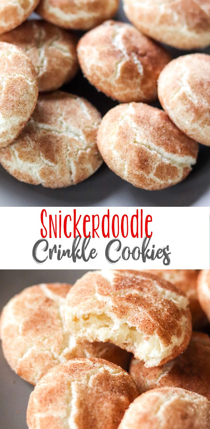 Crinkle Cookies are a true Christmas Cookie, and these Snickerdoodle Crinkle Cookies are truly special. Buttery cinnamon flavored crinkle cookies topped with cinnamon sugar instead of the traditional powdered sugar. So good!  #ChristmasCookiesWeek